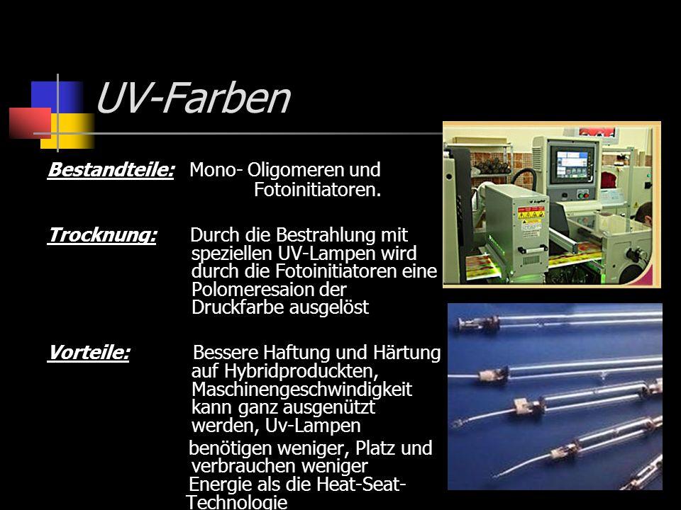 UV-Farben Bestandteile: Mono- Oligomeren und Fotoinitiatoren. Trocknung: Durch die Bestrahlung mit speziellen UV-Lampen wird durch die Fotoinitiatoren
