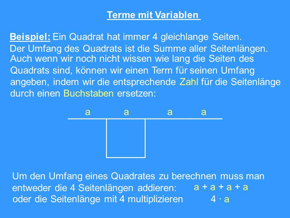 Terme mit Variablen Beispiel: Ein Quadrat hat immer 4 gleichlange Seiten. Der Umfang des Quadrats ist die Summe aller Seitenlängen. aaaa Auch wenn wir