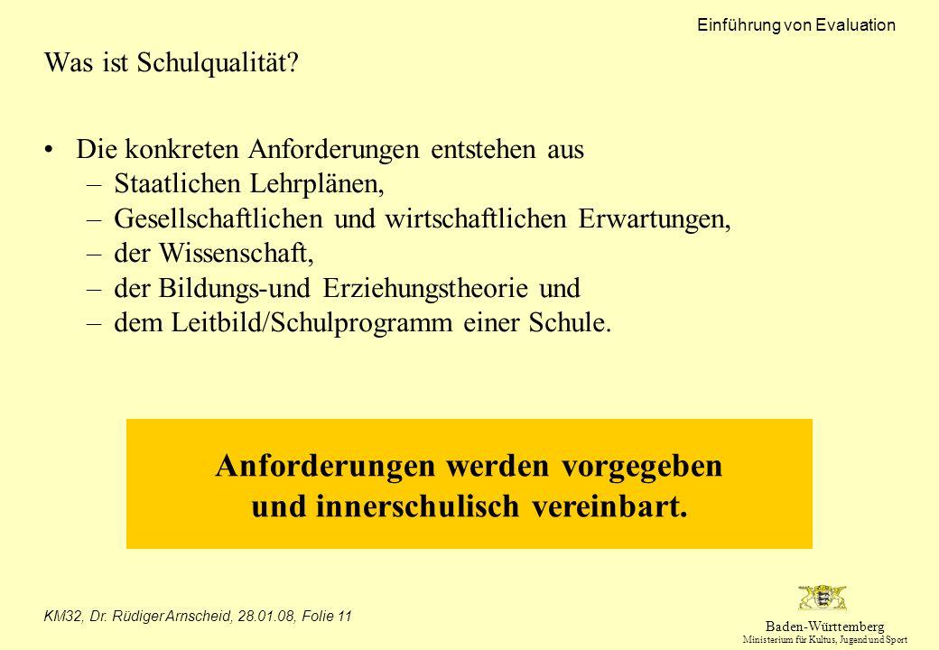 Baden-Württemberg Ministerium für Kultus, Jugend und Sport Einführung von Evaluation KM32, Dr. Rüdiger Arnscheid, 28.01.08, Folie 11 Was ist Schulqual