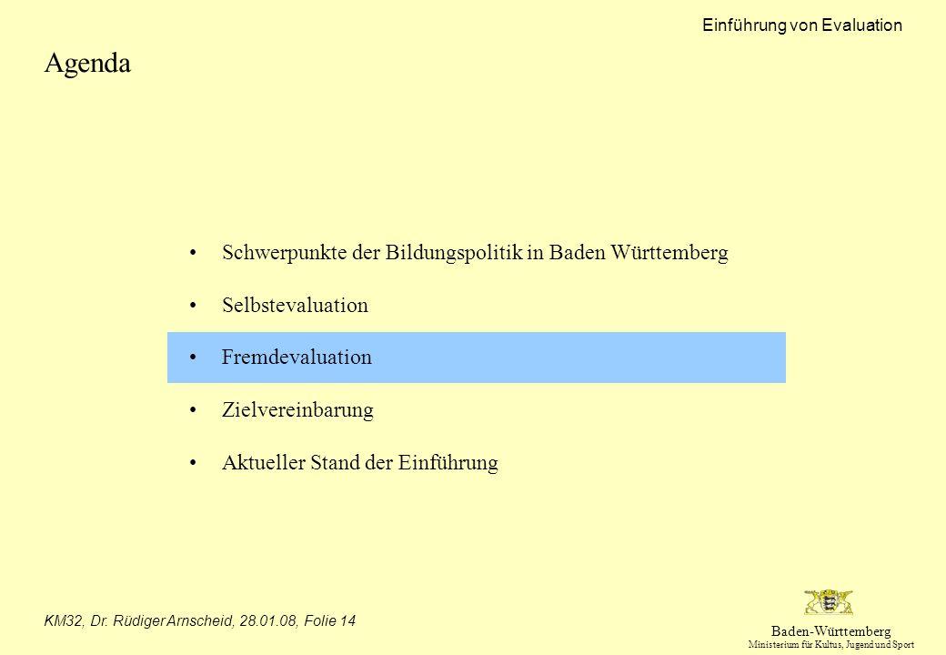 Baden-Württemberg Ministerium für Kultus, Jugend und Sport Einführung von Evaluation KM32, Dr. Rüdiger Arnscheid, 28.01.08, Folie 14 Agenda Schwerpunk