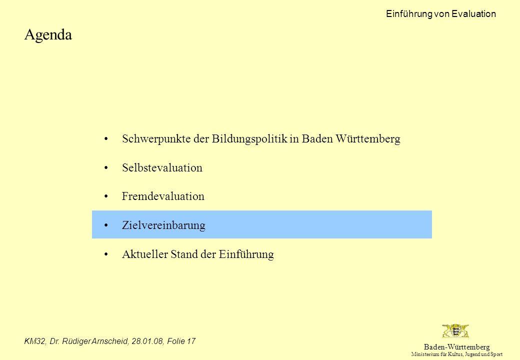 Baden-Württemberg Ministerium für Kultus, Jugend und Sport Einführung von Evaluation KM32, Dr. Rüdiger Arnscheid, 28.01.08, Folie 17 Agenda Schwerpunk