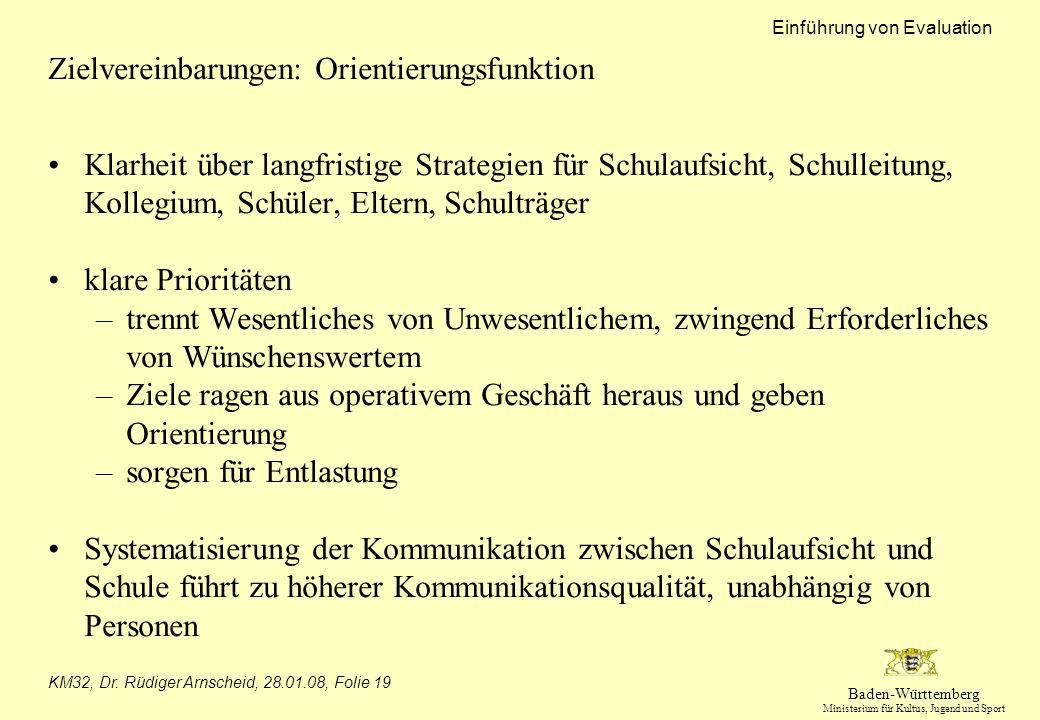 Baden-Württemberg Ministerium für Kultus, Jugend und Sport Einführung von Evaluation KM32, Dr. Rüdiger Arnscheid, 28.01.08, Folie 19 Zielvereinbarunge
