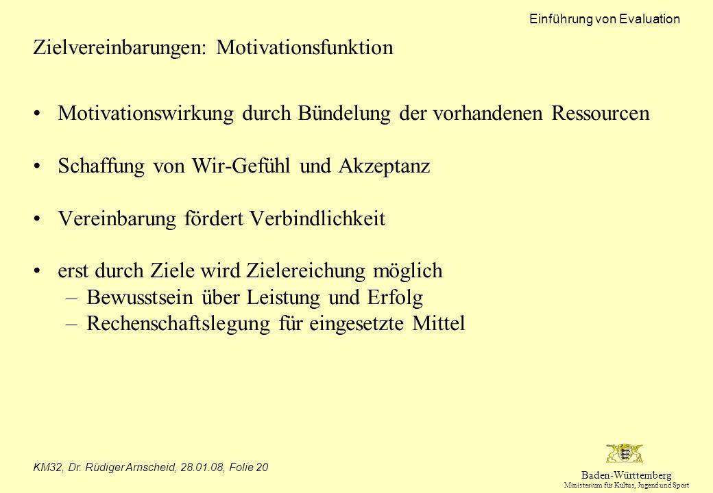 Baden-Württemberg Ministerium für Kultus, Jugend und Sport Einführung von Evaluation KM32, Dr. Rüdiger Arnscheid, 28.01.08, Folie 20 Zielvereinbarunge