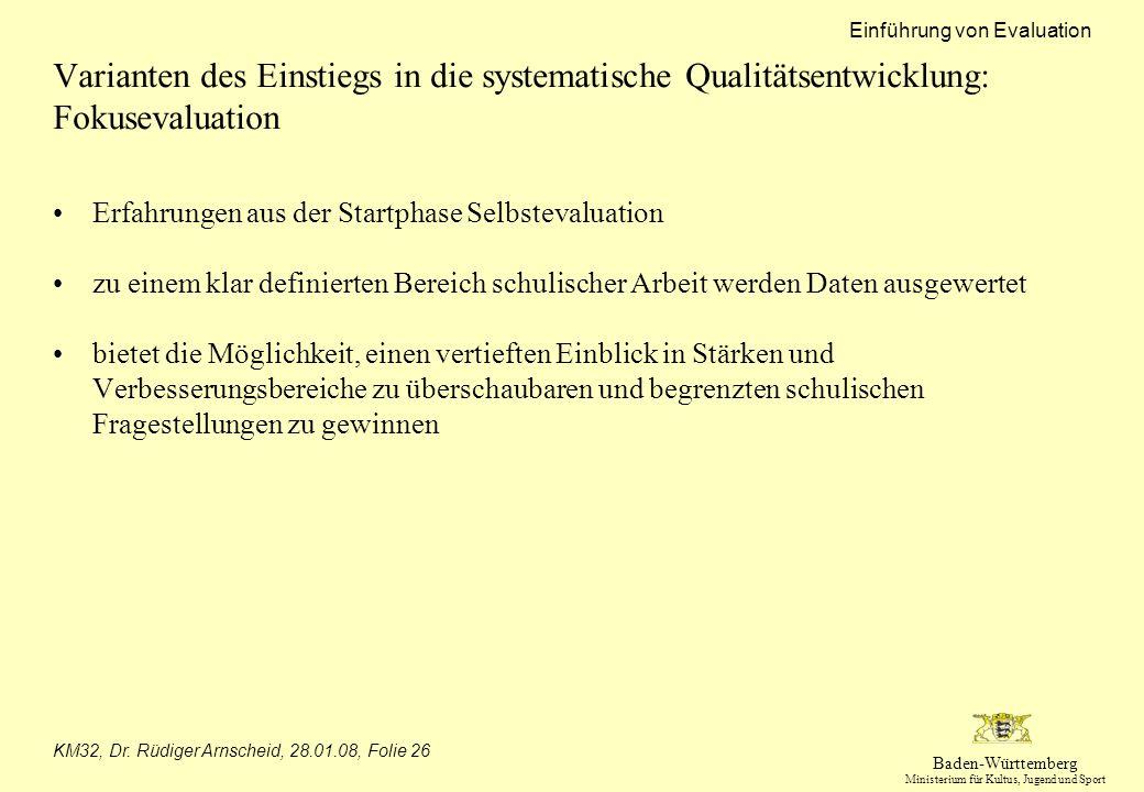 Baden-Württemberg Ministerium für Kultus, Jugend und Sport Einführung von Evaluation KM32, Dr. Rüdiger Arnscheid, 28.01.08, Folie 26 Varianten des Ein