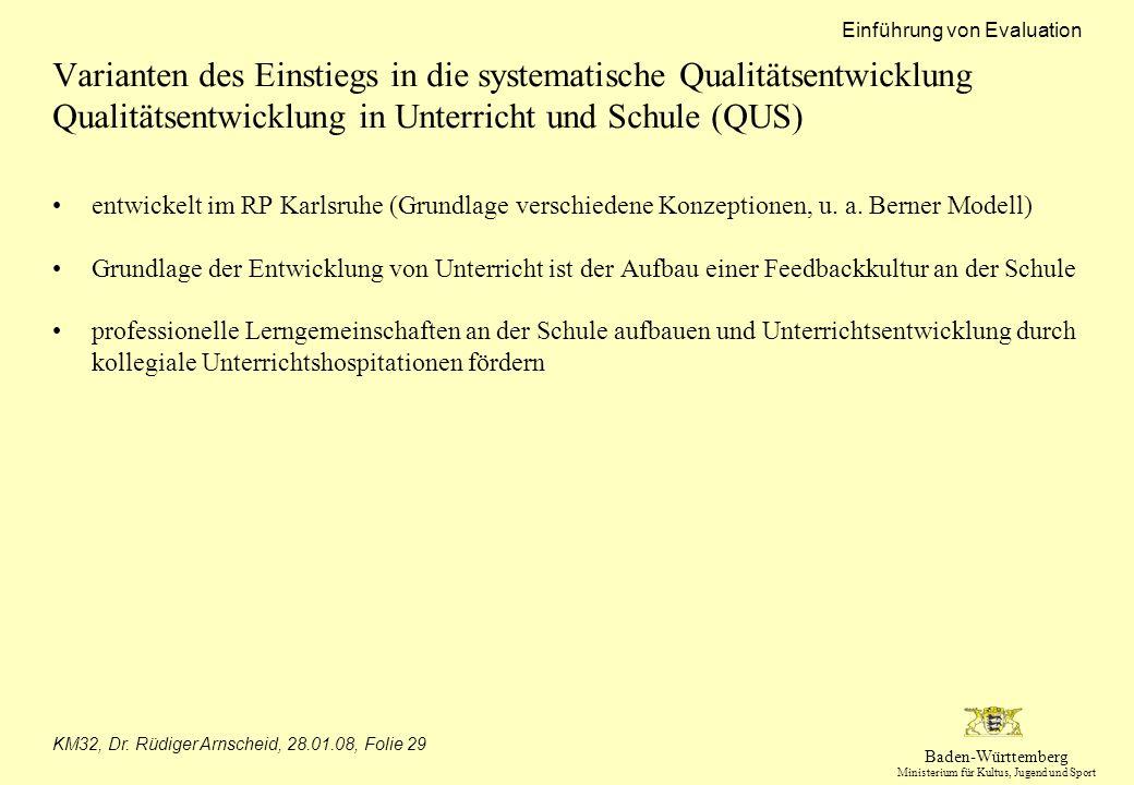Baden-Württemberg Ministerium für Kultus, Jugend und Sport Einführung von Evaluation KM32, Dr. Rüdiger Arnscheid, 28.01.08, Folie 29 Varianten des Ein