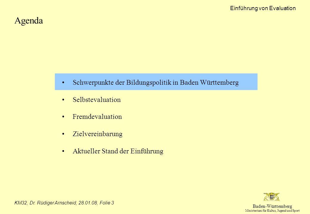Baden-Württemberg Ministerium für Kultus, Jugend und Sport Einführung von Evaluation KM32, Dr. Rüdiger Arnscheid, 28.01.08, Folie 3 Agenda Schwerpunkt