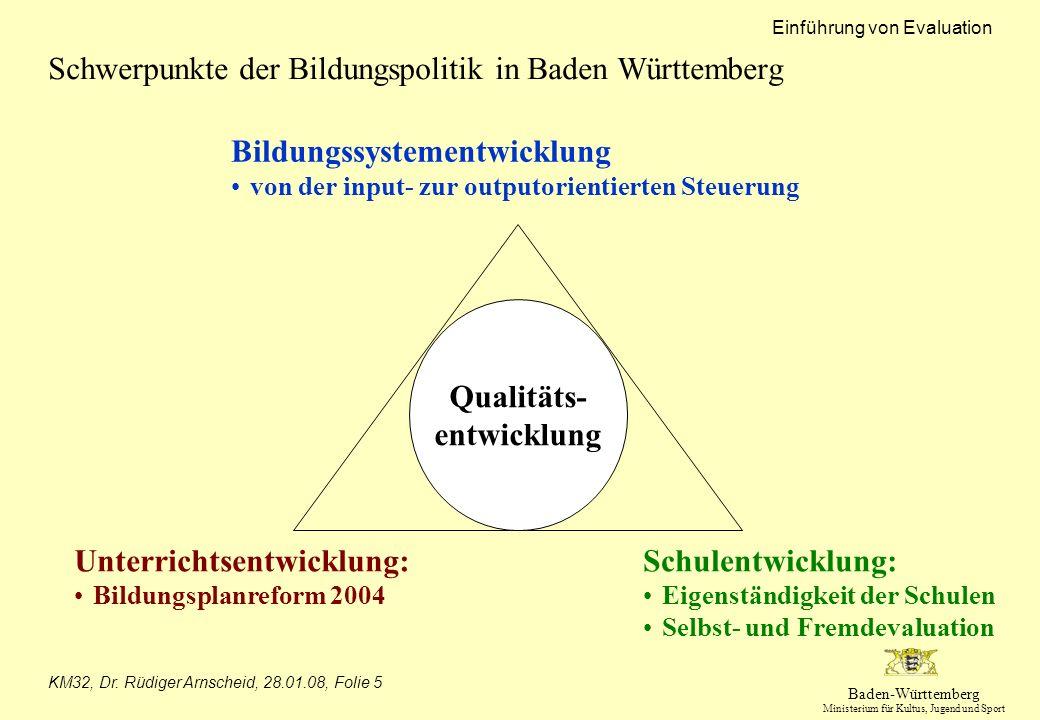 Baden-Württemberg Ministerium für Kultus, Jugend und Sport Einführung von Evaluation KM32, Dr. Rüdiger Arnscheid, 28.01.08, Folie 5 Schwerpunkte der B