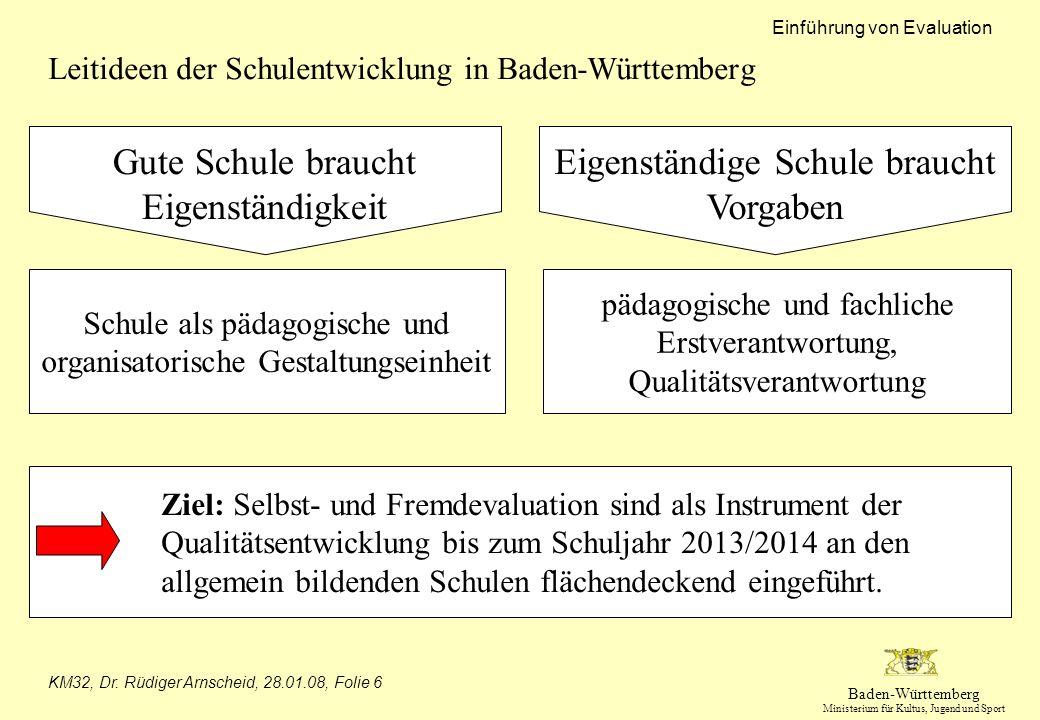 Baden-Württemberg Ministerium für Kultus, Jugend und Sport Einführung von Evaluation KM32, Dr. Rüdiger Arnscheid, 28.01.08, Folie 6 Leitideen der Schu