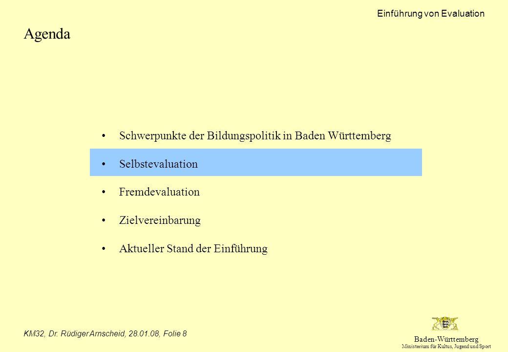 Baden-Württemberg Ministerium für Kultus, Jugend und Sport Einführung von Evaluation KM32, Dr. Rüdiger Arnscheid, 28.01.08, Folie 8 Agenda Schwerpunkt