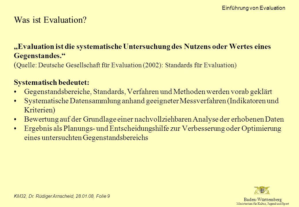 Baden-Württemberg Ministerium für Kultus, Jugend und Sport Einführung von Evaluation KM32, Dr. Rüdiger Arnscheid, 28.01.08, Folie 9 Was ist Evaluation