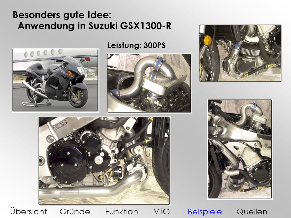Besonders gute Idee: Anwendung in Suzuki GSX1300-R Leistung: 300PS ÜbersichtGründeFunktionVTGBeispieleQuellen