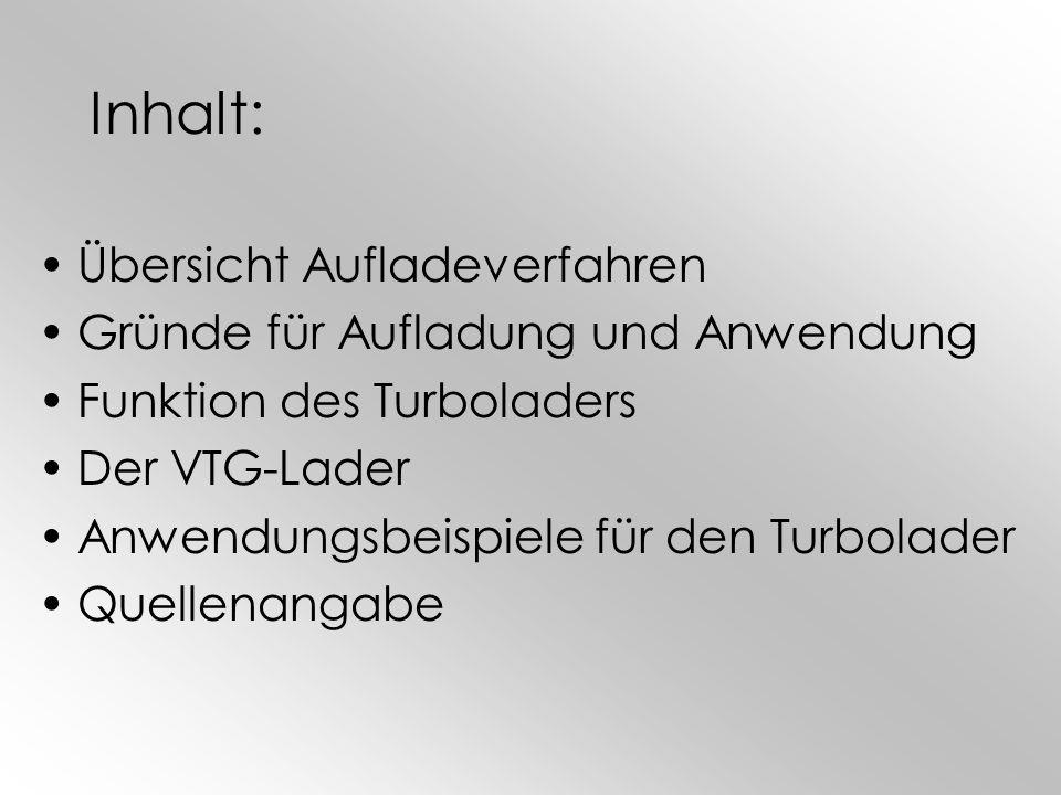 Inhalt: Übersicht Aufladeverfahren Gründe für Aufladung und Anwendung Funktion des Turboladers Der VTG-Lader Anwendungsbeispiele für den Turbolader Qu