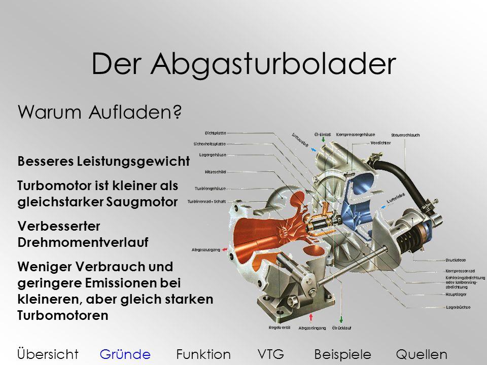 Der Abgasturbolader Warum Aufladen? Besseres Leistungsgewicht Turbomotor ist kleiner als gleichstarker Saugmotor Verbesserter Drehmomentverlauf Wenige