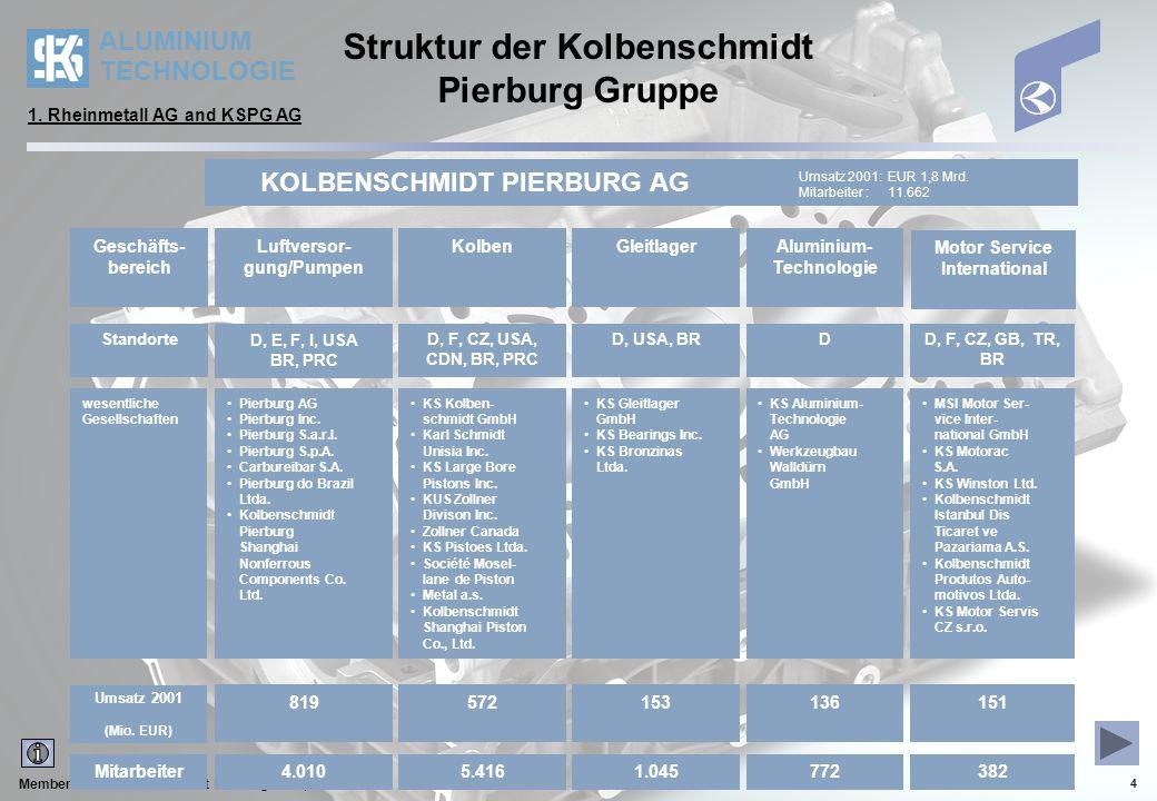 ALUMINIUM TECHNOLOGIE Member of the Kolbenschmidt Pierburg Group 5 Produkte und Bauarten 2.