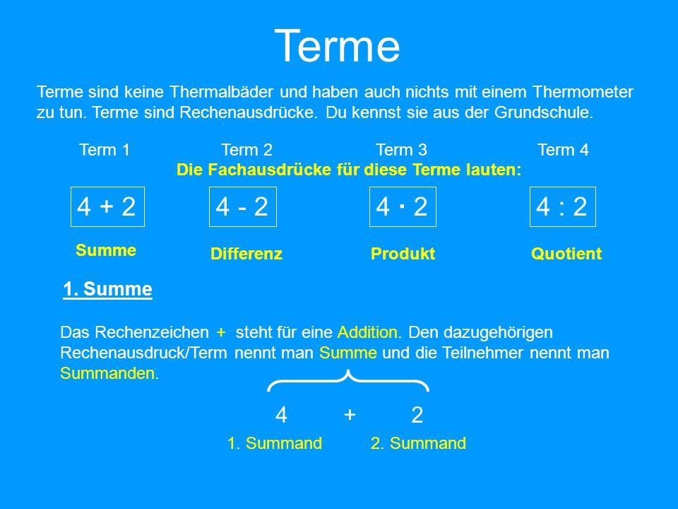 Terme Terme sind keine Thermalbäder und haben auch nichts mit einem Thermometer zu tun. Terme sind Rechenausdrücke. Du kennst sie aus der Grundschule.