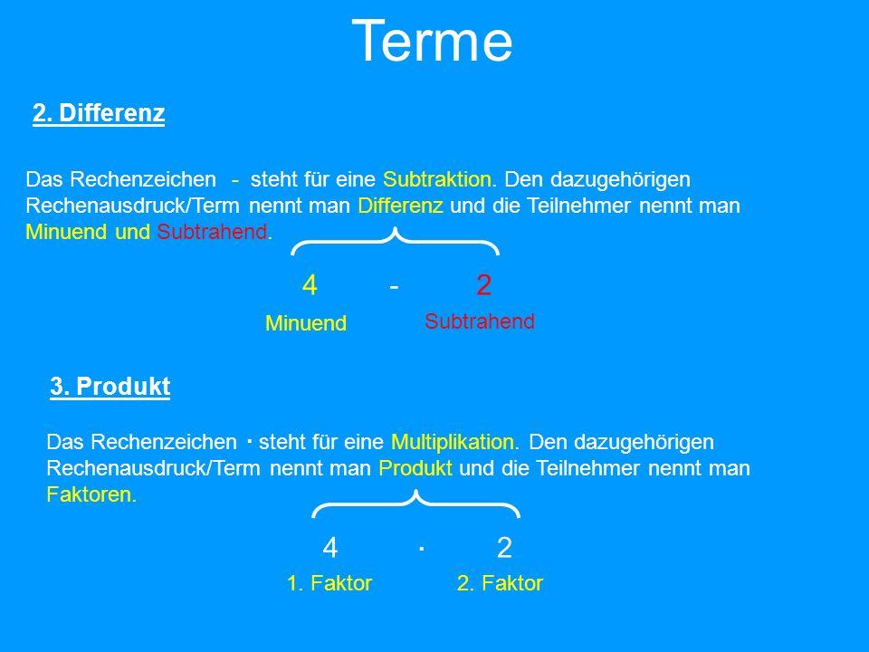 4-24-2 Minuend Subtrahend Das Rechenzeichen - steht für eine Subtraktion. Den dazugehörigen Rechenausdruck/Term nennt man Differenz und die Teilnehmer