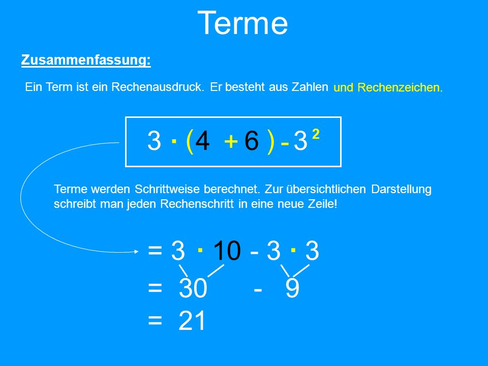 Zusammenfassung: Ein Term ist ein Rechenausdruck. Er besteht aus Zahlen 34633463 und Rechenzeichen. + - 2 ( ) Terme Terme werden Schrittweise berechne