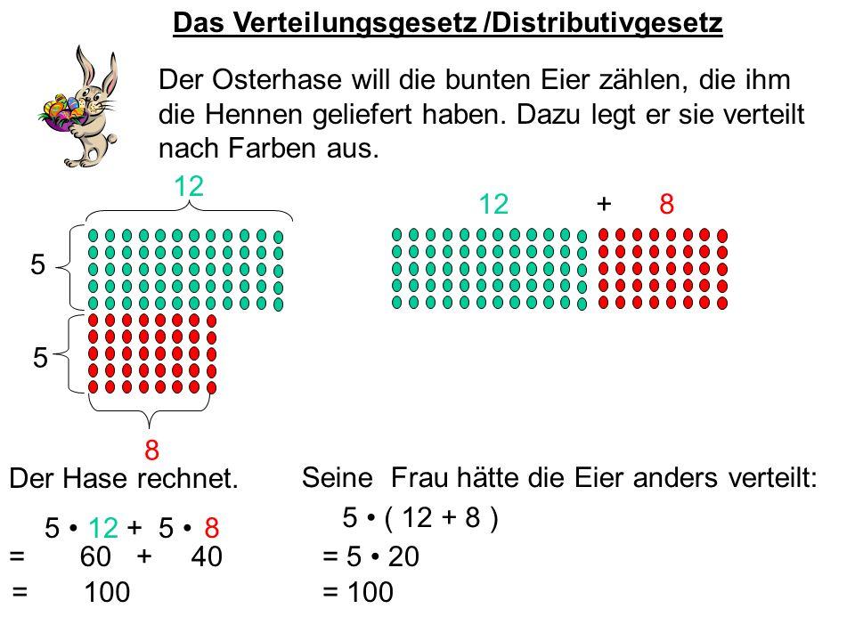 Das Verteilungsgesetz /Distributivgesetz Der Osterhase will die bunten Eier zählen, die ihm die Hennen geliefert haben. Dazu legt er sie verteilt nach