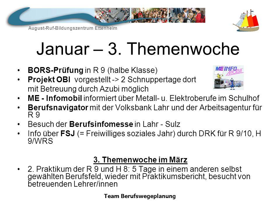 August-Ruf-Bildungszentrum Ettenheim Team Berufswegeplanung Zweites Halbjahr