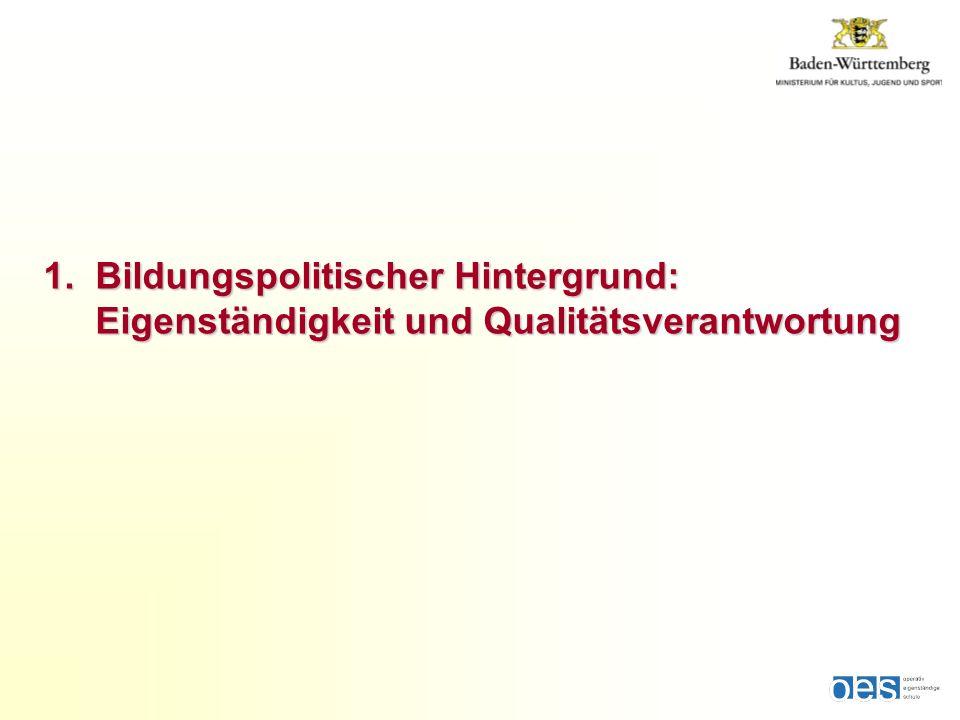 1. Bildungspolitischer Hintergrund: Eigenständigkeitund Qualitätsverantwortung 1. Bildungspolitischer Hintergrund: Eigenständigkeit und Qualitätsveran