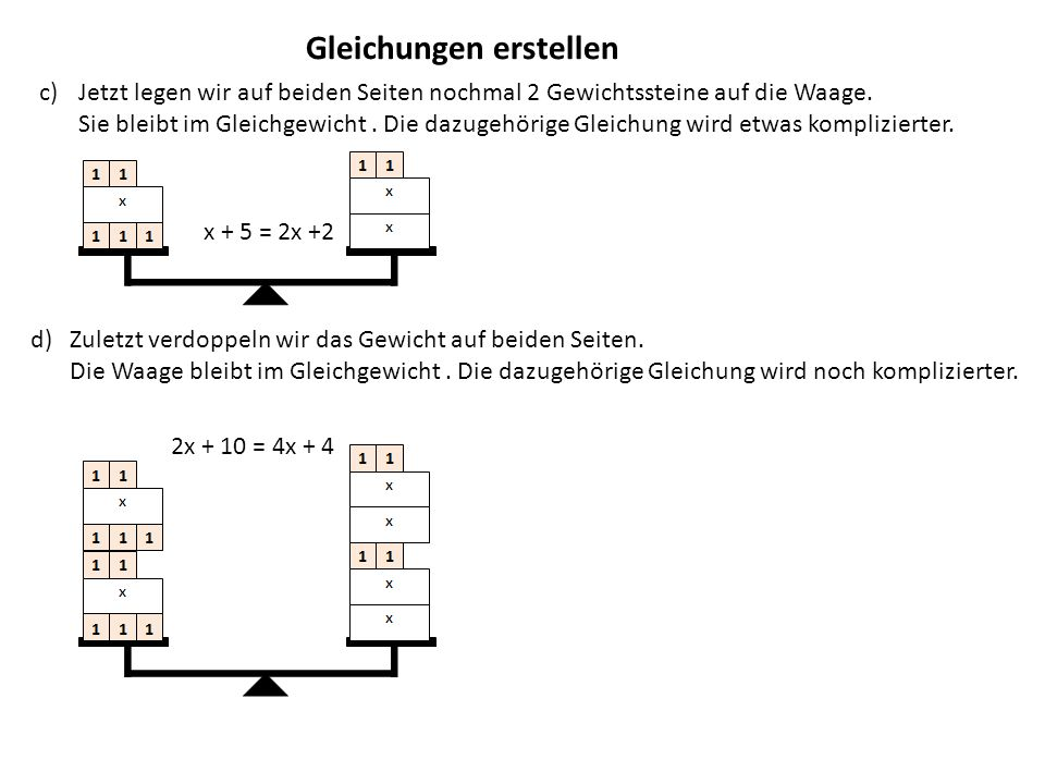Lösen einfacher Gleichungen 2x + 10 = 4x + 4 2.