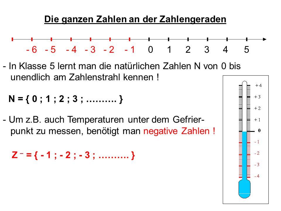 Die ganzen Zahlen an der Zahlengeraden - In Klasse 5 lernt man die natürlichen Zahlen N von 0 bis unendlich am Zahlenstrahl kennen ! N = { 0 ; 1 ; 2 ;