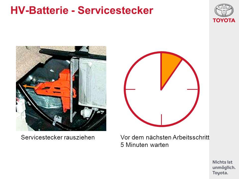 HV-Batterie - Servicestecker Servicestecker rausziehenVor dem nächsten Arbeitsschritt 5 Minuten warten