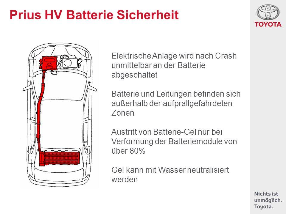 Prius HV Batterie Sicherheit Elektrische Anlage wird nach Crash unmittelbar an der Batterie abgeschaltet Batterie und Leitungen befinden sich außerhal