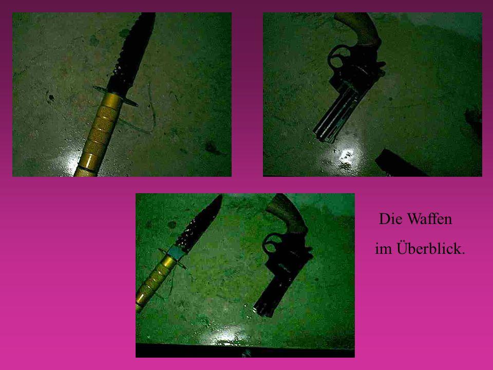 So sehen die Mordwaffen nach dem Kampf aus.