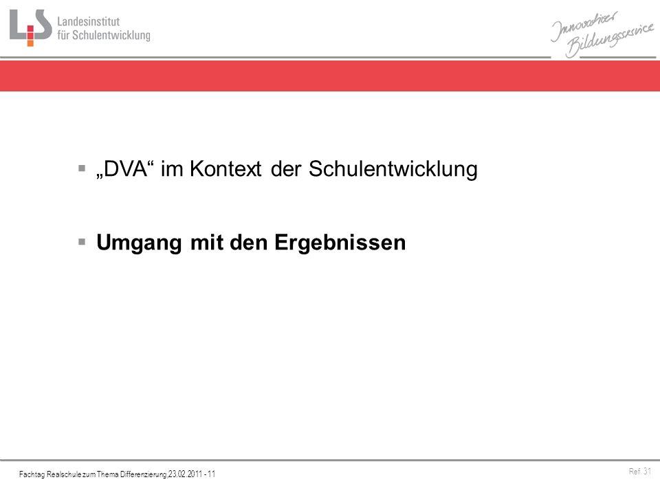 Fachtag Realschule zum Thema Differenzierung,23.02.2011 - 11 Ref. 31 DVA im Kontext der Schulentwicklung Umgang mit den Ergebnissen