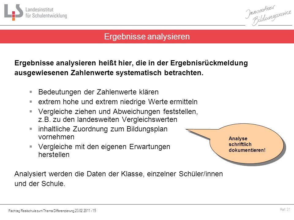 Fachtag Realschule zum Thema Differenzierung,23.02.2011 - 15 Ref. 31 Ergebnisse analysieren heißt hier, die in der Ergebnisrückmeldung ausgewiesenen Z