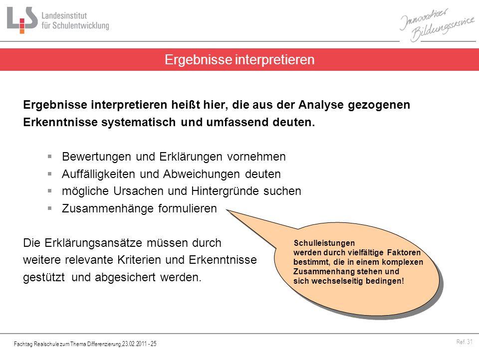 Fachtag Realschule zum Thema Differenzierung,23.02.2011 - 25 Ref. 31 Ergebnisse interpretieren heißt hier, die aus der Analyse gezogenen Erkenntnisse