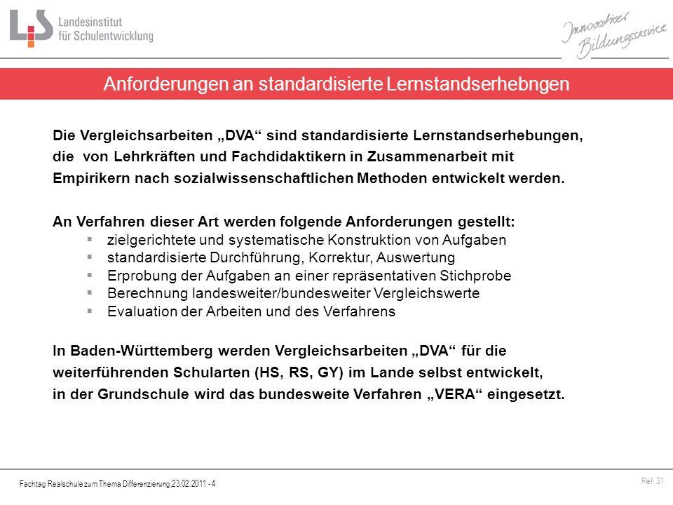Fachtag Realschule zum Thema Differenzierung,23.02.2011 - 4 Ref. 31 Anforderungen an standardisierte Lernstandserhebngen Die Vergleichsarbeiten DVA si