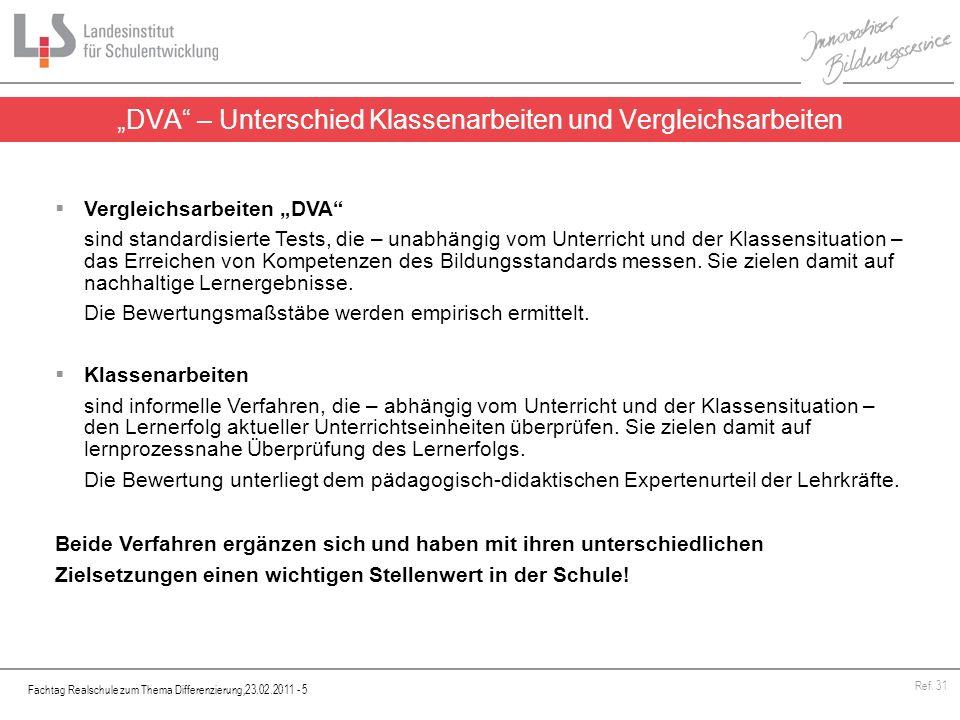 Fachtag Realschule zum Thema Differenzierung,23.02.2011 - 6 Ref.