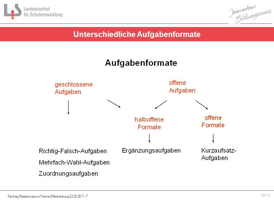 Fachtag Realschule zum Thema Differenzierung,23.02.2011 - 7 Ref. 31 Unterschiedliche Aufgabenformate