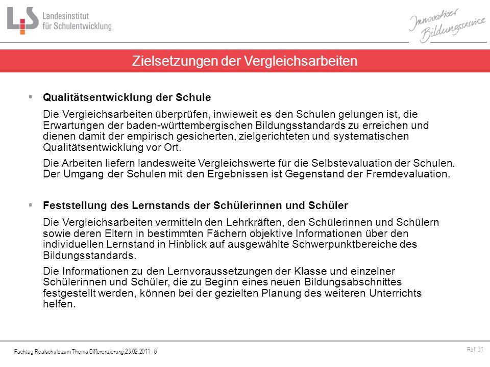Fachtag Realschule zum Thema Differenzierung,23.02.2011 - 8 Ref. 31 Qualitätsentwicklung der Schule Die Vergleichsarbeiten überprüfen, inwieweit es de