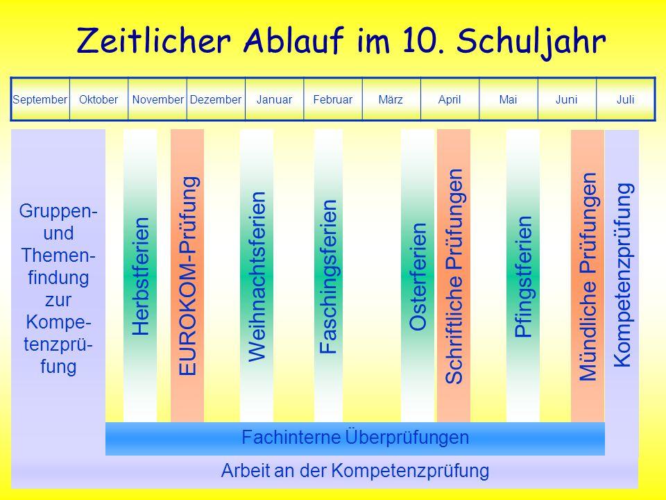 27. Februar 2007 7 Kompetenzprüfung Zeitlicher Ablauf im 10. Schuljahr SeptemberOktoberNovemberDezemberJanuarFebruarMärzAprilMaiJuniJuli Gruppen- und
