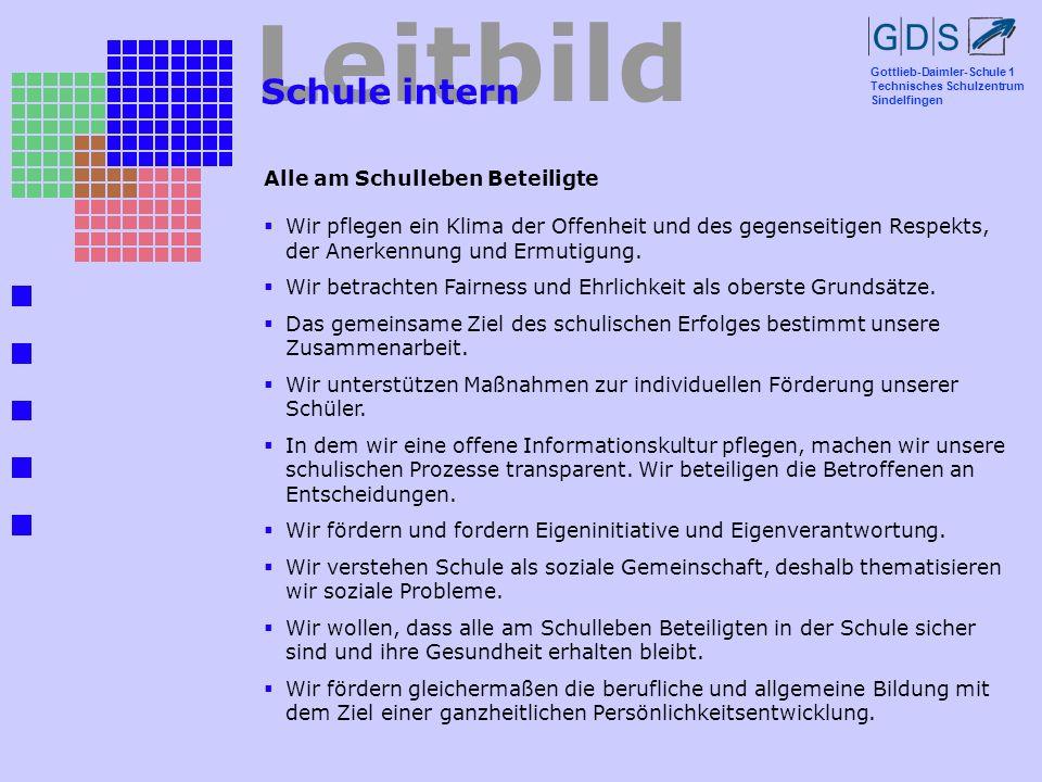 Gottlieb-Daimler-Schule 1 Technisches Schulzentrum Sindelfingen Leitbild Schule intern Alle am Schulleben Beteiligte Wir pflegen ein Klima der Offenhe
