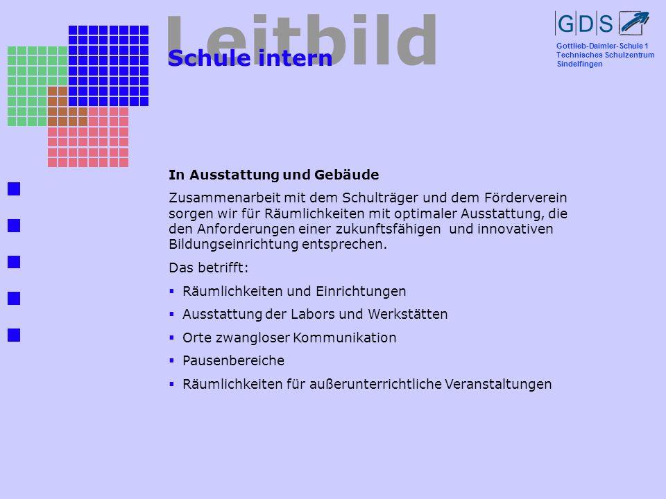 Gottlieb-Daimler-Schule 1 Technisches Schulzentrum Sindelfingen Leitbild Schule intern In Ausstattung und Gebäude Zusammenarbeit mit dem Schulträger u