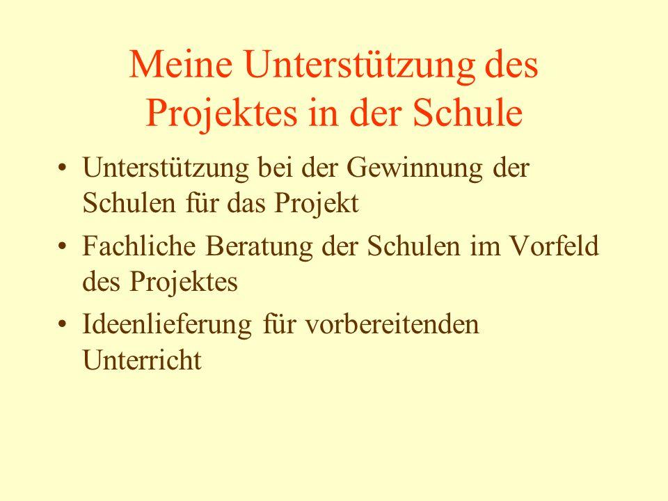 Meine Unterstützung des Projektes in der Schule Unterstützung bei der Gewinnung der Schulen für das Projekt Fachliche Beratung der Schulen im Vorfeld des Projektes Ideenlieferung für vorbereitenden Unterricht