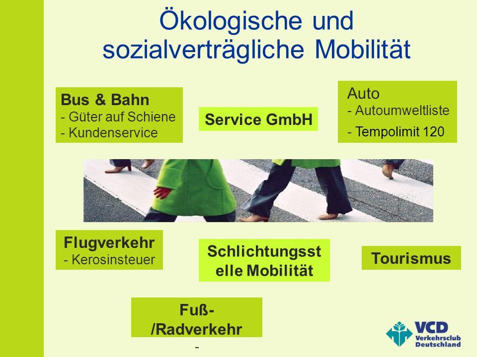 Ökologische und sozialverträgliche Mobilität Bus & Bahn - Güter auf Schiene - Kundenservice Fuß- /Radverkehr - Mobilitätserziehung Flugverkehr - Kerosinsteuer Auto - Autoumweltliste - Tempolimit 120 Schlichtungsst elle Mobilität Service GmbH Tourismus