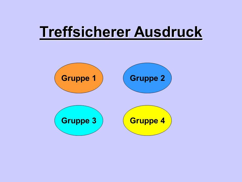 Treffsicherer Ausdruck Gruppe 4Gruppe 3 Gruppe 1Gruppe 2