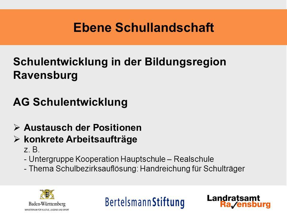 Ebene Schullandschaft Schulentwicklung in der Bildungsregion Ravensburg AG Schulentwicklung Austausch der Positionen konkrete Arbeitsaufträge z. B. -