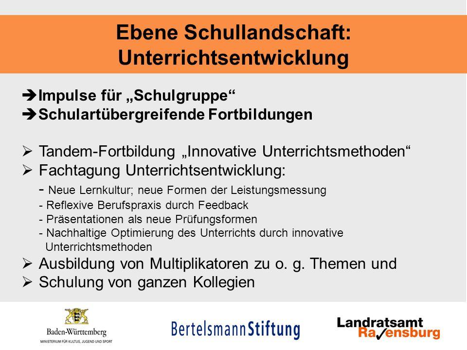 Ebene Schullandschaft: Unterrichtsentwicklung Impulse für Schulgruppe Schulartübergreifende Fortbildungen Tandem-Fortbildung Innovative Unterrichtsmet