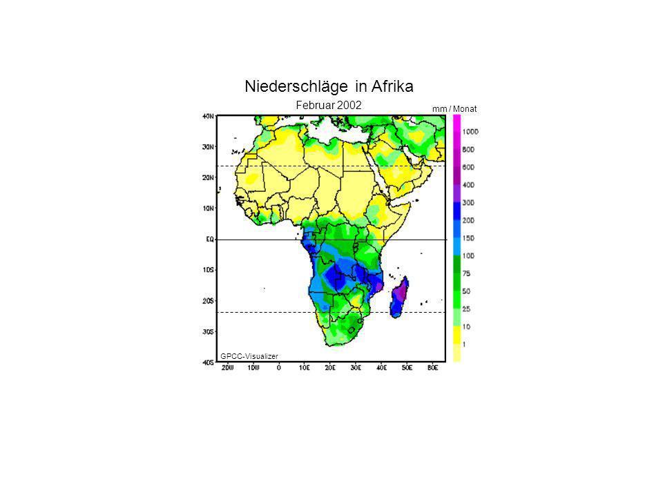 Januar 2000 Februar 2002 mm / Monat Niederschläge in Afrika GPCC-Visualizer