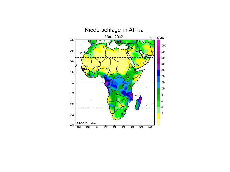 Januar 2000 März 2002 mm / Monat Niederschläge in Afrika GPCC-Visualizer