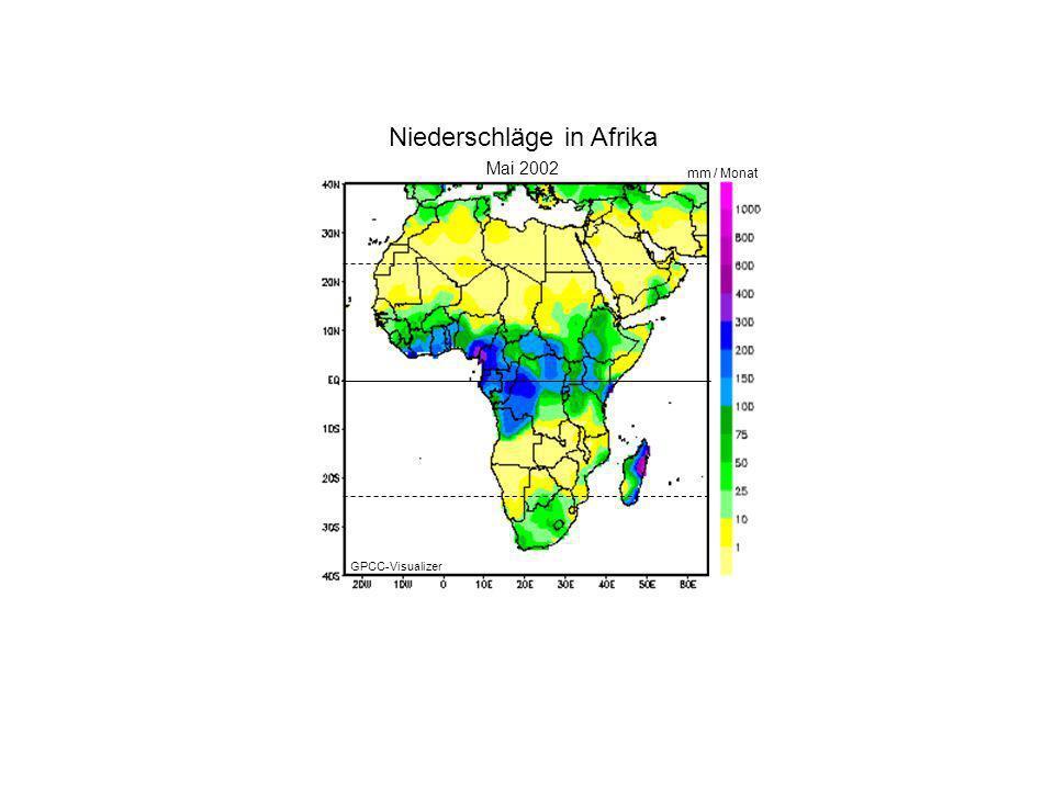 Januar 2000 Mai 2002 mm / Monat Niederschläge in Afrika GPCC-Visualizer