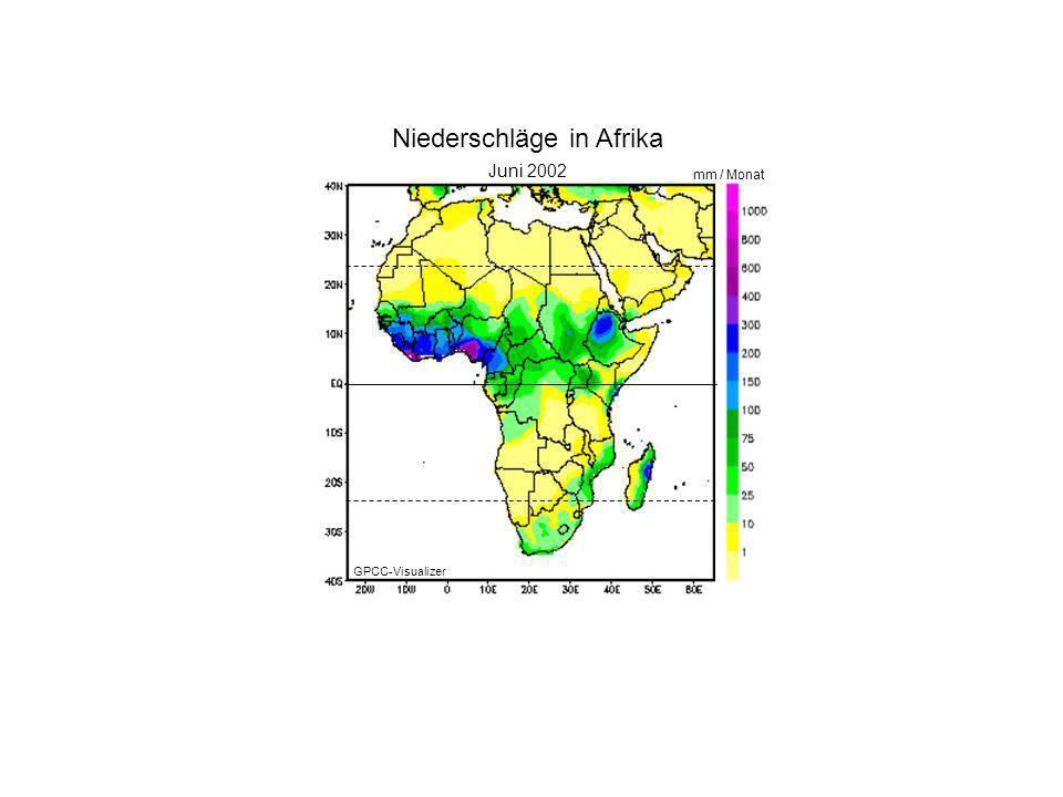 Januar 2000 Juni 2002 mm / Monat Niederschläge in Afrika GPCC-Visualizer