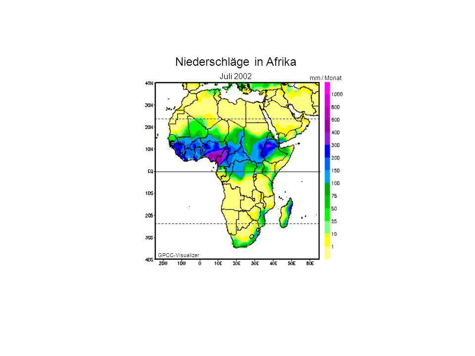 Januar 2000 Juli 2002 mm / Monat Niederschläge in Afrika GPCC-Visualizer