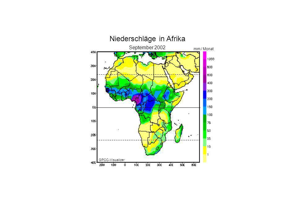Januar 2000 Oktober 2002 mm / Monat Niederschläge in Afrika GPCC-Visualizer